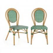 Blumfeldt Montpellier GR, bisztró szék, egymásra rakhatók, alumínium keret, polyrattan, zöld (GDMB10-Montpellie-GR)