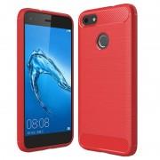 Huawei P9 Lite Mini, Y6 Pro (2017) Brushed TPU Case - Carbon Fiber - Red