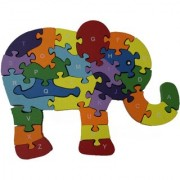 Shy Shy Wooden Jigsaw Puzzle In Shape Of Elephant Each Piece Painted With Alphabets On One Side 1-26 Numbers On Other