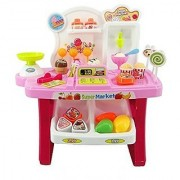 Smartcraft Luxury Supermarket Shop - Pink Candy Sweet Shopping Cart Ice Cream Supermarket Role Play Set Toy for Kids