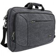 17 - 17.3 Laptop Messenger Bag Evecase 17.3 Canvas Messenger Bag - Dark Grey w/ Handles Shoulder Strap and Multiple Accessory Pockets (for 17.3 in laptops ultrabooks or tablet pc)
