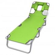 vidaXL Сгъваем шезлонг с възглавница и регулируема облегалка, зелен