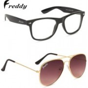 Freddy Wayfarer Sunglasses(Brown, Clear)