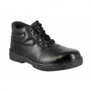 JK Port Men's Black Genuine Leather Safety Shoe