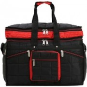 SuiDhaga PU Black+Red Casual Expandable Travelling Bag 1 Main Compartments 4 Small & 1 Insider Zippered Pockets For Men/Women Travel Duffel Bag(Multicolor)