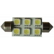 Sofita rendszám világítás, 6 led, 42 mm, 120 Lumen, 5050 chip, W, hideg fehér