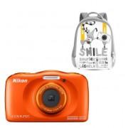 Aparat Foto Digital NIKON Coolpix W150, 13.2MP, Zoom Optic 3x, Wi-Fi cu rucsac (Portocaliu)