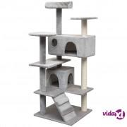 vidaXL Penjalica Grebalica za Mačke sa Stupovima od Sisala 125 cm Siva