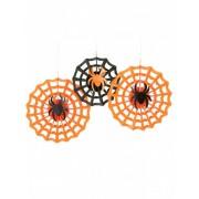 Vegaoo 3 Spinnennetz-Rosetten zum Aufhängen an Halloween