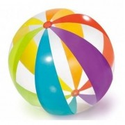 Merkloos Grote opblaasbare strandbal transparant met kleuren 82 cm