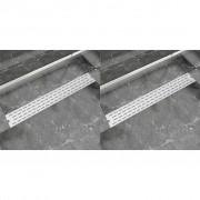 vidaXL 2 db lineáris rozsdamentes acél vonal zuhany lefolyó 830x140 mm