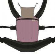Nandu ÖKO Bébi Csatos állítható hordozó - Málna fekete pánttal