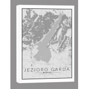 Jezioro Garda, Włochy mapa czarno biała - obraz na płótnie