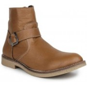 Digni MONK STRAP WITH ZIPPER BOOT Boots For Men(Beige)