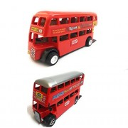 Combo Toys of Double Decker Bus (Mini, Small Size) and Double Decker Bus Toy for Kids | Pull Back and Go | Red Color | Set of 2 Toys