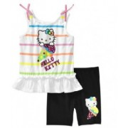 Set bluza fara maneci si pantaloni scurti hello kitty