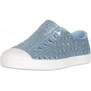 Native Kids Shoes Girl's Jefferson Bling Glitter (Toddler/Little Kid) Light Sky Bling/Shell White 6 Toddler