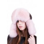 Розова шапка от естествена кожа