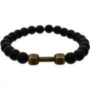 BeBold Bronze Dumbbell Black Crystal Fashion Bead Matt Bracelet for Men Boys