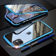 LUPHIE Magnetic Metal Frame Tempered Glass Phone Cover for Apple iPhone 11 6.1 inch - Baby Blue