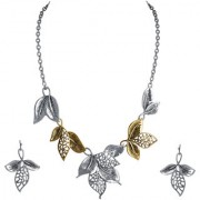 Spargz Party Wear Gold With Silver Plated Leaves Necklace and Hook Earring Set AINS 220
