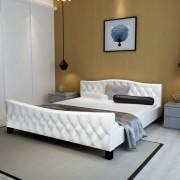vidaXL Estrutura de cama 140x200 cm couro artificial branco