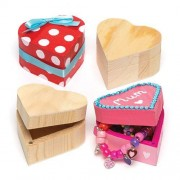 Heart Boxes - 4 Wooden Heart shaped Boxes for storing your trinkets. Made of quality wood with hinged magnetic lids. Size 6.5cm x 3.5cm.