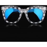 ER Los Nuevos Colores De Moda Gafas De Sol Estrellas Bastidor Grueso Film/lentes De Color Gris -Clear Frame+Película Azul