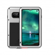 LOVE MEI Powerful Metal Defender Case for Samsung Galaxy S10 Dust-proof Shock-proof Splash-proof Cover - Silver