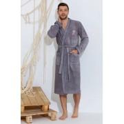 PECHE MONNAIE Махровый мужской халат из высококачественного хлопчато-бамбукового материала серого цвета PECHE MONNAIE №405 SEAMAN Серый