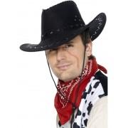 Palarie petrecere cowboy cusuta neagra