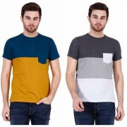 Odoky Multicolor Block Print Cotton Blend Round Neck Casual T-Shirts For Men Pack Of 2