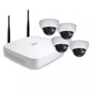 Комплект 4x IP камери и рекордер Dahua DH-KIT/NVR4104-W/4-HDBW1000EP-W-0360B, куполна, 1 Mpix(1280×720@30FPS), 3.6mm обектив, H.264B/H.264/MJPEG, IR осветеност (до 30 метра), IP66, вандалоустойчива IK10, Wi-Fi, 1x 10/100Base-T Ethernet port