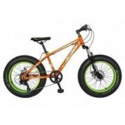Bicicleta Fat Bike VELORS V2019B Cadru otel Culoare portocaliu-verde