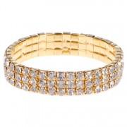 Dames armband goudkleurig met strass steentjes