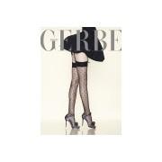 Eleganckie wzorzyste pończochy do paska Parisienne firmy Gerbe, czarne, rozm. L