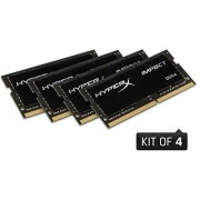 Kingston HyperX Impact 64GB DDR4 2133MHz Kit módulo de Memoria (64 GB, 4 x 16 GB, DDR4, 2133 MHz, 260-pin SO-DIMM, Negro)