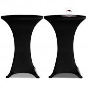 vidaXL Obrus na stół barowy Ø 80 cm czarny rozciągany 2 szt