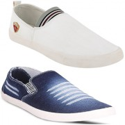 Clymb MR-1 White+W-201 Blue Combo Pack Of 2 Loafers For Men's In Various Sizes