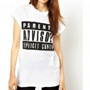 Camiseta Mujer Con Estampados De Letras Y De Manga Corta - Blanco