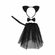 Costum pisica fetite fusta papion urechi coada negru