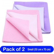 Glassiano Waterproof New Born Baby Bed Protector Dry Sheet Combo Small Violet/Baby Pink (Pack of 2)
