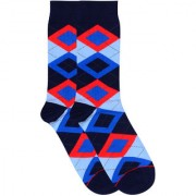 Soxytoes The Scotsman Blue Cotton Calf Length Pack of 1 Pair Argyle for Men Formal Socks (STS0016E)
