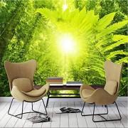 ponana Custom 3D Green Forest Tree Sunshine Nature Scenery Mural Wallpaper Living Room Bedroom Home Decor -A-350X250Cm