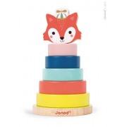 JANOD Drewniana piramida - nakładanka, układanka Lisek Baby Forest, 12m+,