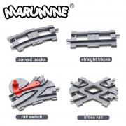 Marumine Duplo Train Tracks Blocks Toys Crossover Parts Railway Switch Building Bricks City Parts Gift for Children