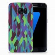 B2Ctelecom Samsung Galaxy S7 TPU Hoesje Abstract Green Blue