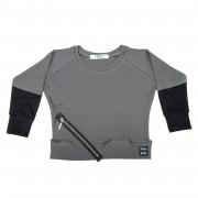 Bluza Zipper Rib - gri inchis, 6-8 ani