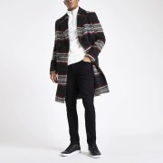 River Island Mens Black and red brushed check wool overcoat (XS)