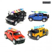 """Set of 4: 5"""" 2005 Hummer H2 SUT with Surf Board 1:40 Scale (Black/Blue/Red/Yellow)"""